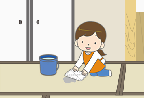 主婦が畳を水拭きしているイラスト